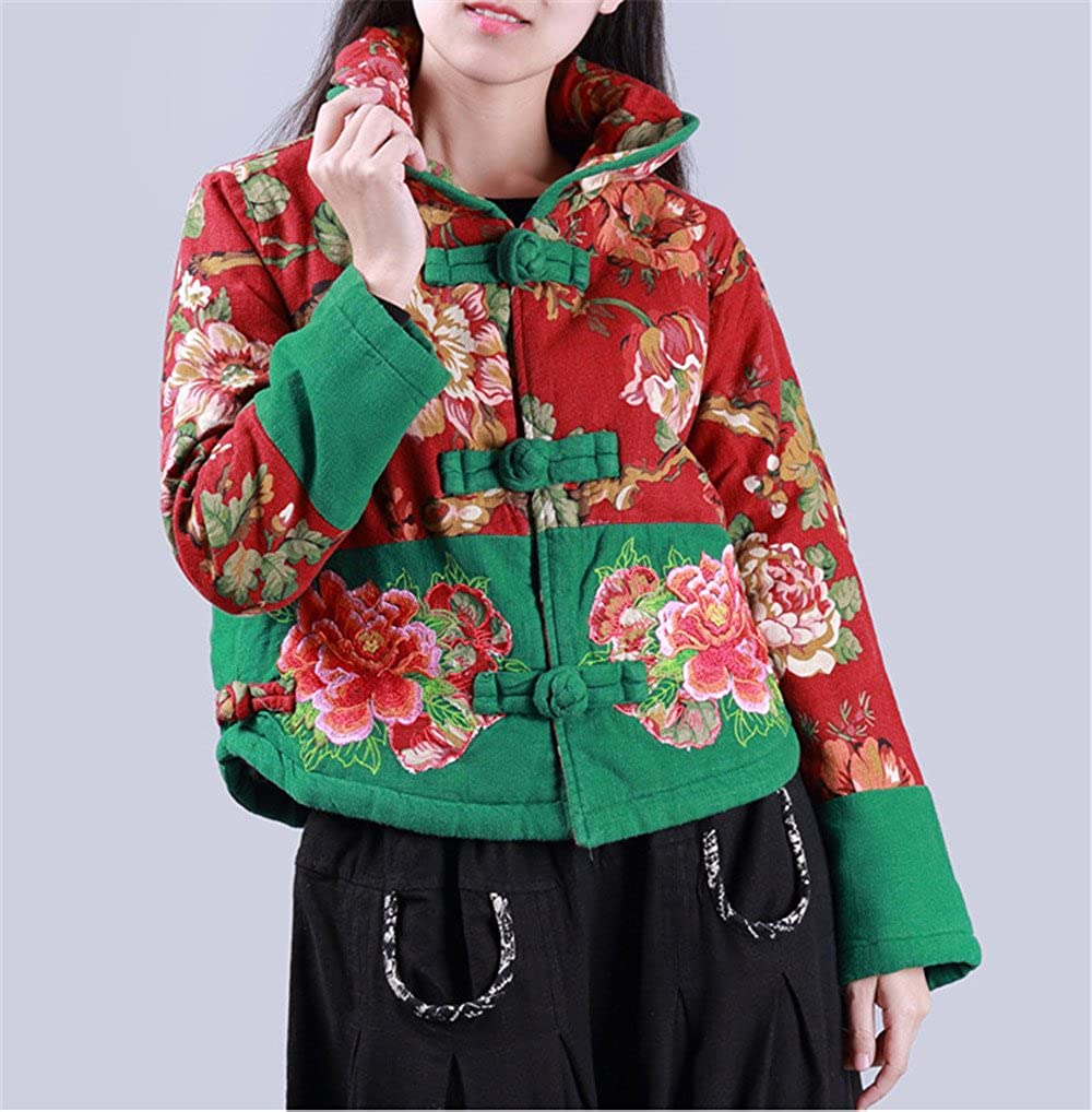 Women's Chinese Red/Green Quilted Embroidered Long Sleeve Short Jacket - DeluxeAdultCostumes.com