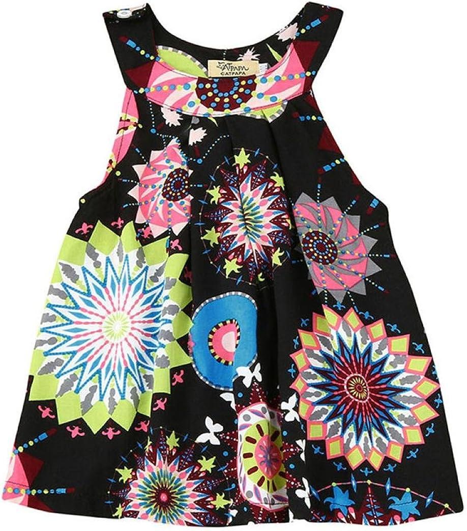 6 A/ños Falda ni/ña Beb/é Chicas Vestido de Princesa Bohemia de Flores Ropa de Playa 2 A/ños
