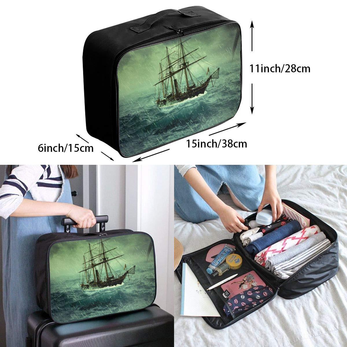 Storm Ocean Sailboat Tornado Travel Lightweight Waterproof Foldable Storage Carry Luggage Large Capacity Portable Luggage Bag Duffel Bag