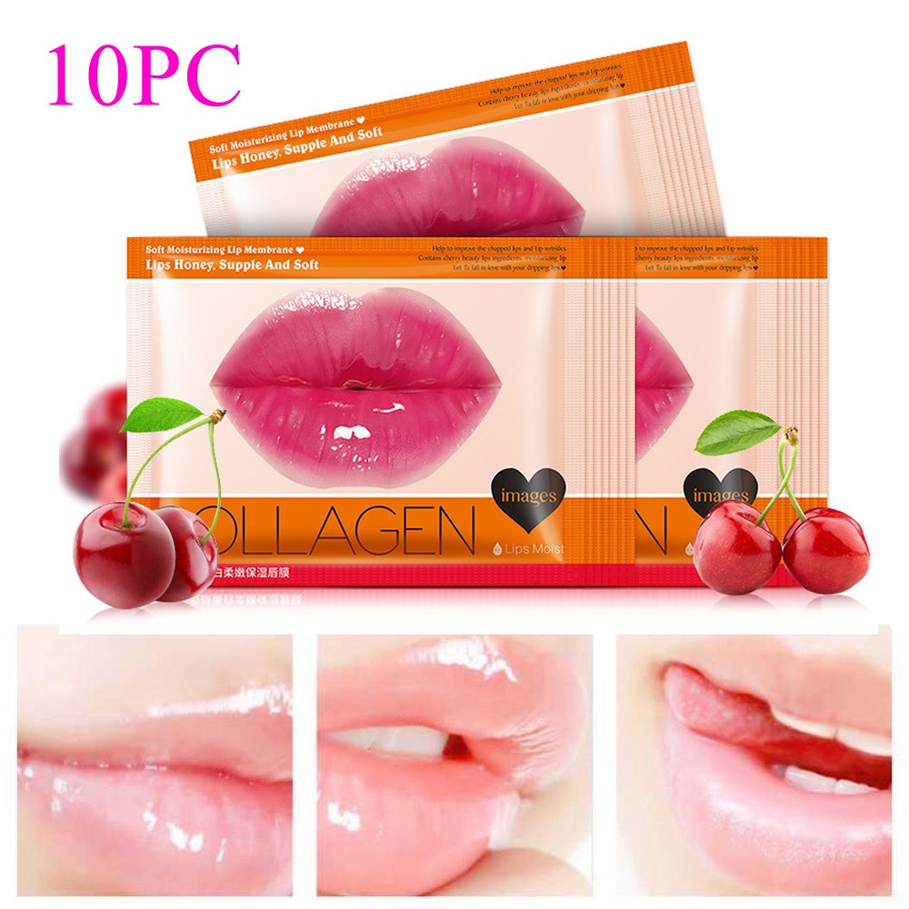 Urberry 10PCS Strawberry Crystal Lip Mask Lip Care Gel Mask Moisturizing Hydrating Repair Remove Lines Blemishes Fuller Lip Care