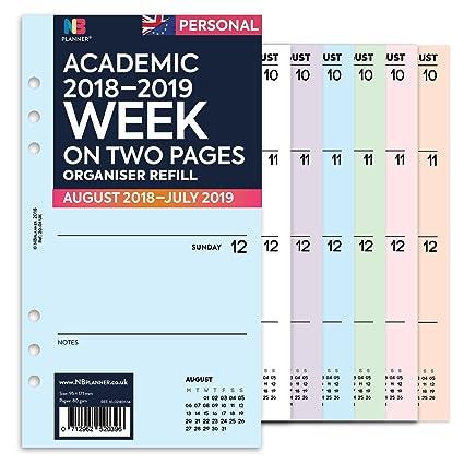 Planificador semanal académico 2018-2019, en dos páginas ...