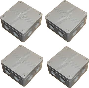 Caja de conexiones para exteriores 91 mm x 47 mm con bloques de conectores y amortiguadores de color gris resistente al agua IP66 (4 unidades): Amazon.es: Bricolaje y herramientas