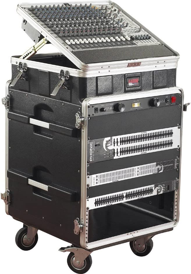 GRC-10X12 PU Gator Cases Lightweight ATA Molded Console Rack Case; 10U Pop-Up Top and 12U Side