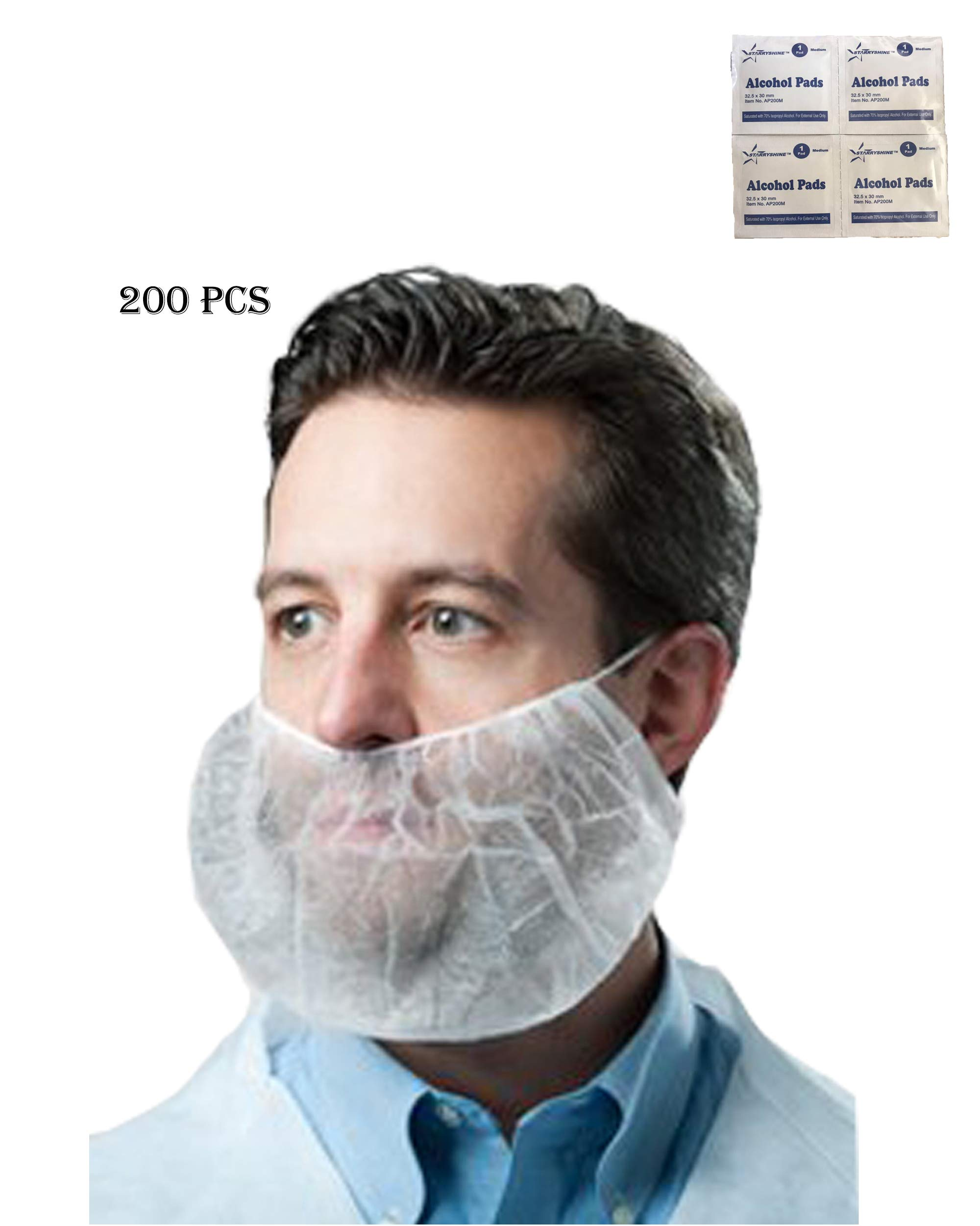 Economical Disposable Bouffant Beard Cover/ Protector, Beard Nets (Non-Woven, Latex-Free)-- Food Industry, Restaurants, Cooking, Healthcare Facilities and More--Bonus Alcohol Pads Include