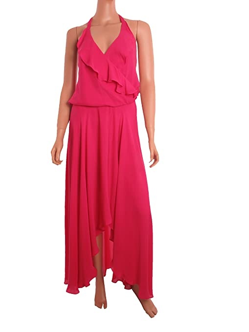 9a8f2dfc99 Amazon.com: Haute Hippie Sleeveless Cocktail long Hi-Lo Maxi Dress Fuschia  Hot Pink: Clothing