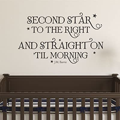 Ditooms Neverland Wall Decal Second Star to The Right Wall Quote Peter Pan Whimsical Nursery Decal Quote Kids Wall Art Decor Vinyl Wall Decal: Baby