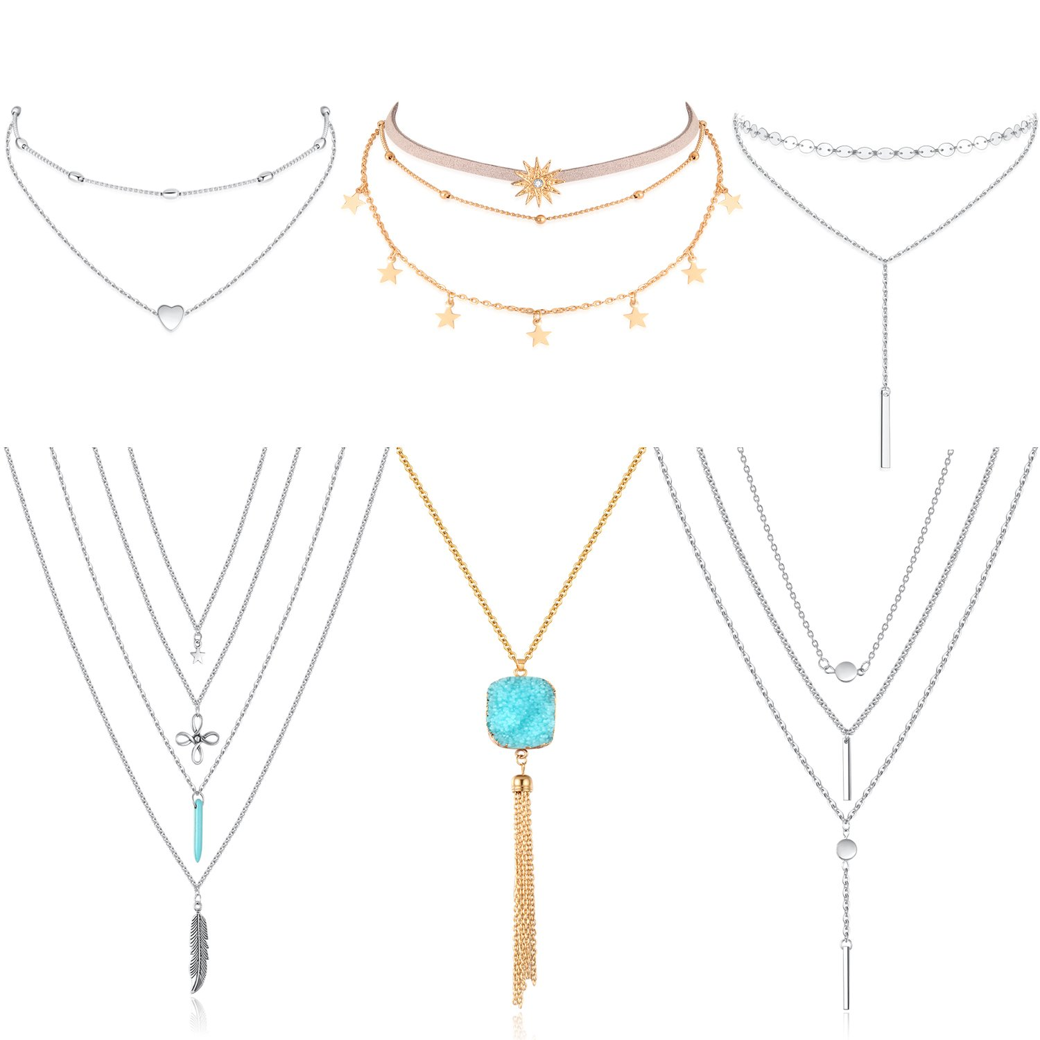 KissYan Boho Layared Necklace Choker Necklace Turquoise Feather Long Necklaces For Women Girls Pack of 6