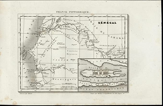 Senegal On Africa Map.Senegal Africa River St Louis Island Fort Nice 1835 Scarce Antique