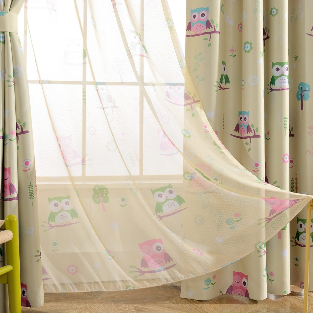 Melodieux Cartoon Owl Sheer Rod Pocket Voile Curtains/Drapes for Kids Room, 52'' Wx96 L, Yellow Green (1 Piece)