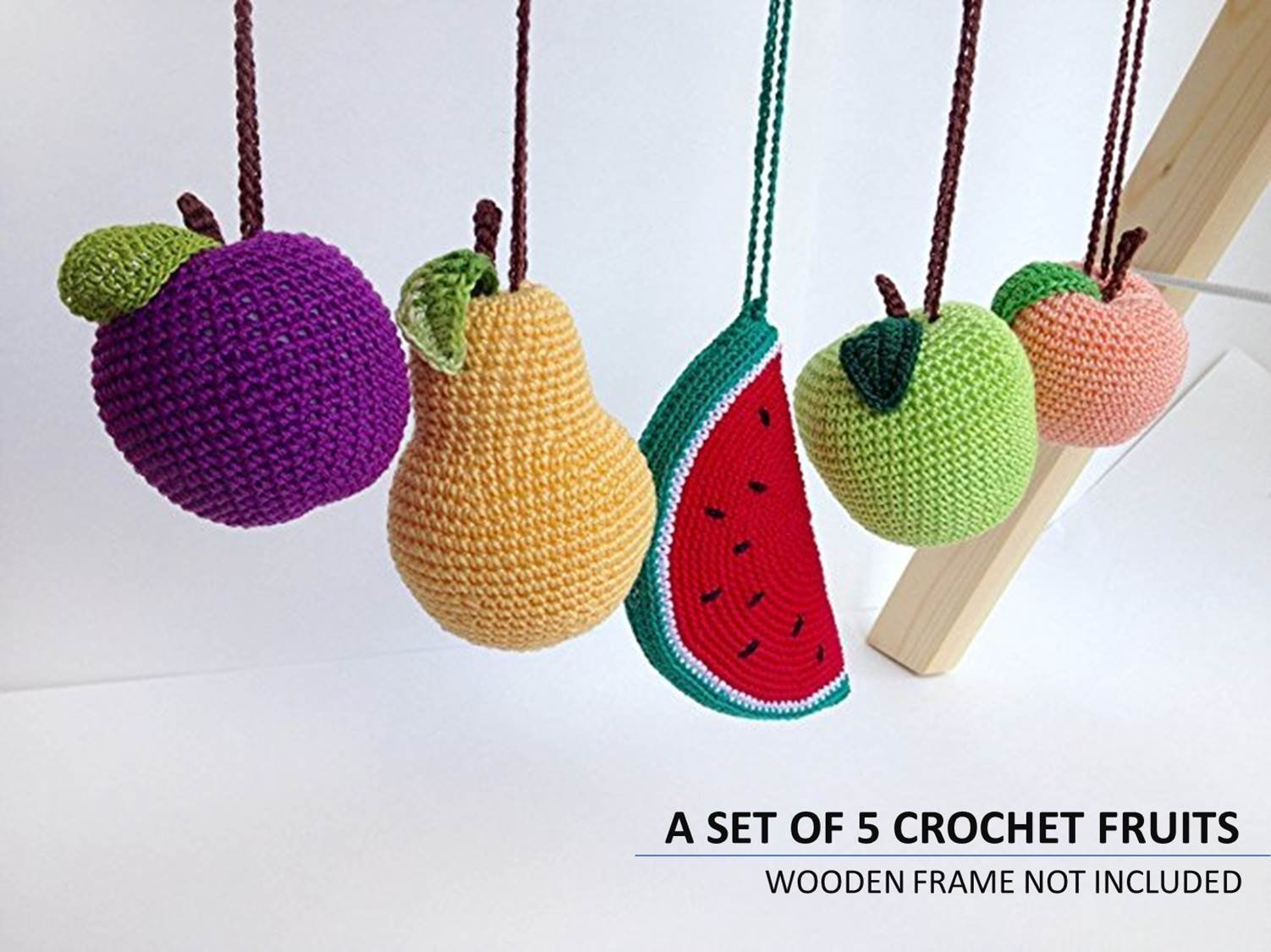 Baby gym mobiles fruits Set of 5, play gym accessories, crochet rattles, infant activity center. Baby shower gift. Gender neutral gift