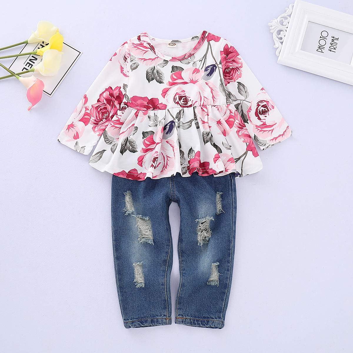 Amiley Newborn Baby Girls Boys flower Print Tops Shirt Pants 3PCS Outfits Set Clothes