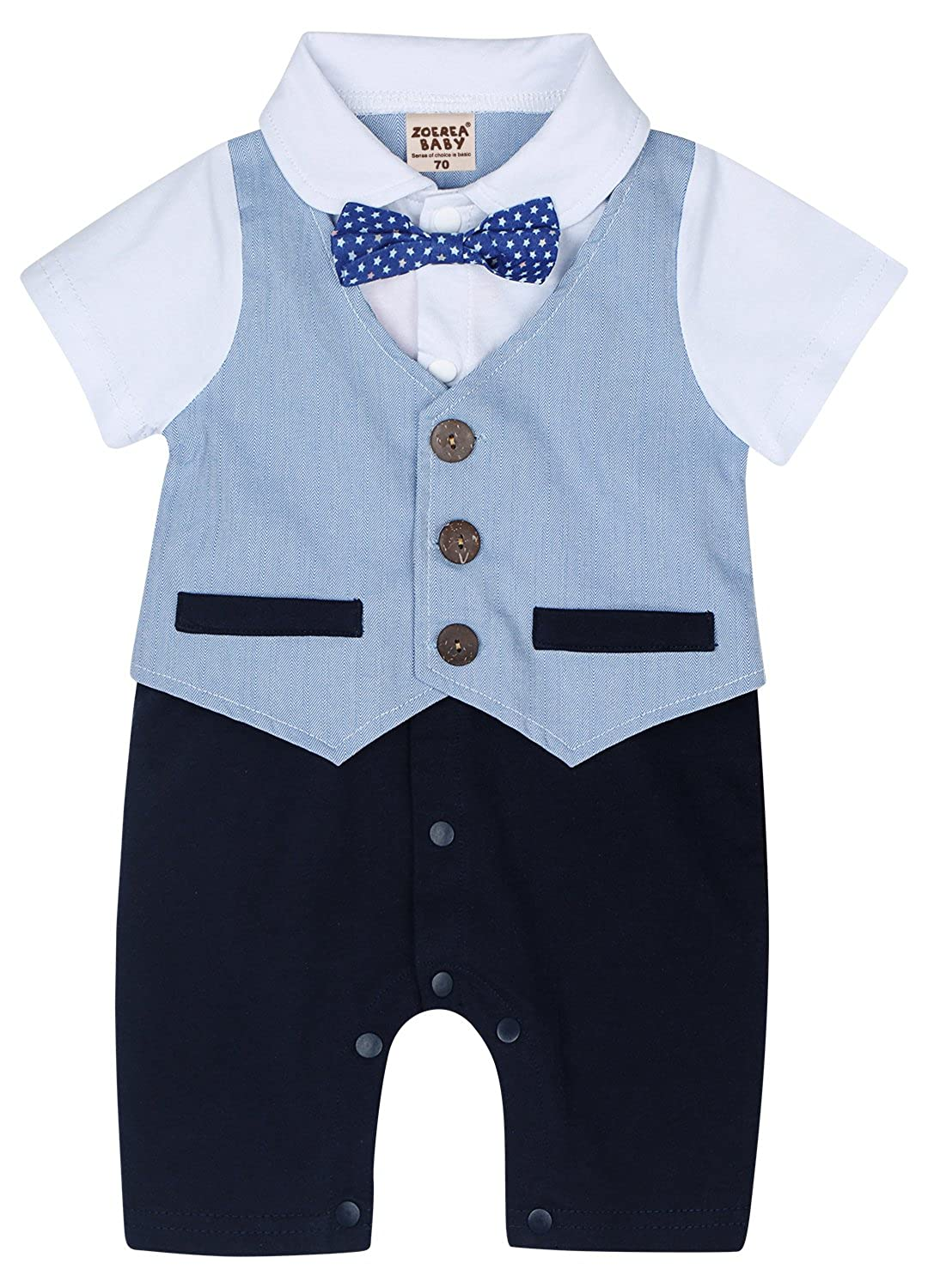 e824ffb2d362 Amazon.com  ZOEREA Baby Boy Stripe Suits Bow-Tie Short Sleeve Shirt ...