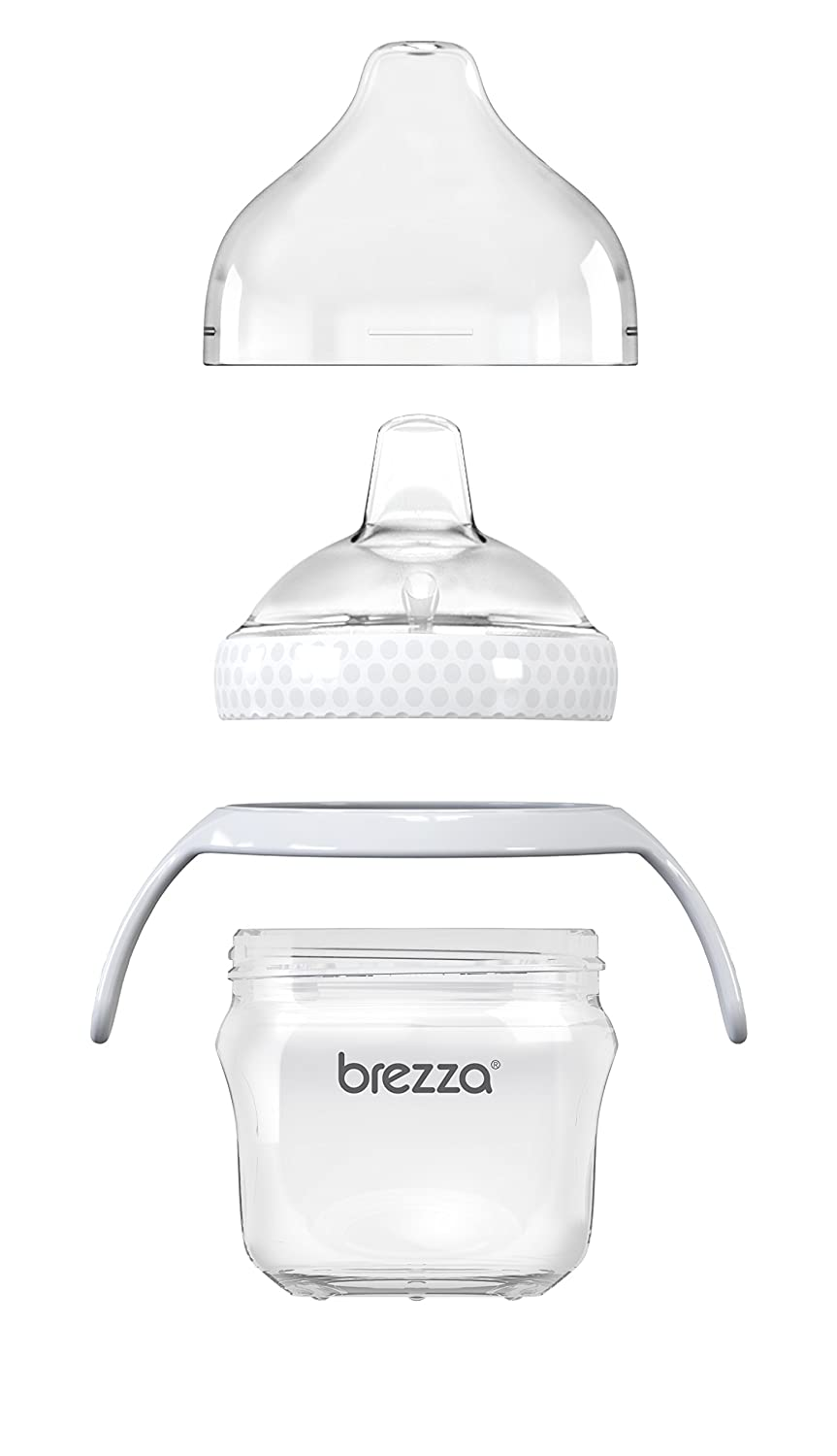 Wide Mouth for Easy Cleaning 5 Ounce White Soft Silicone Spout Baby Brezza Transition Sippy Cup with Handles Great Transitional Cup for Infants and Toddlers BPA Free Leak /& Spill Proof