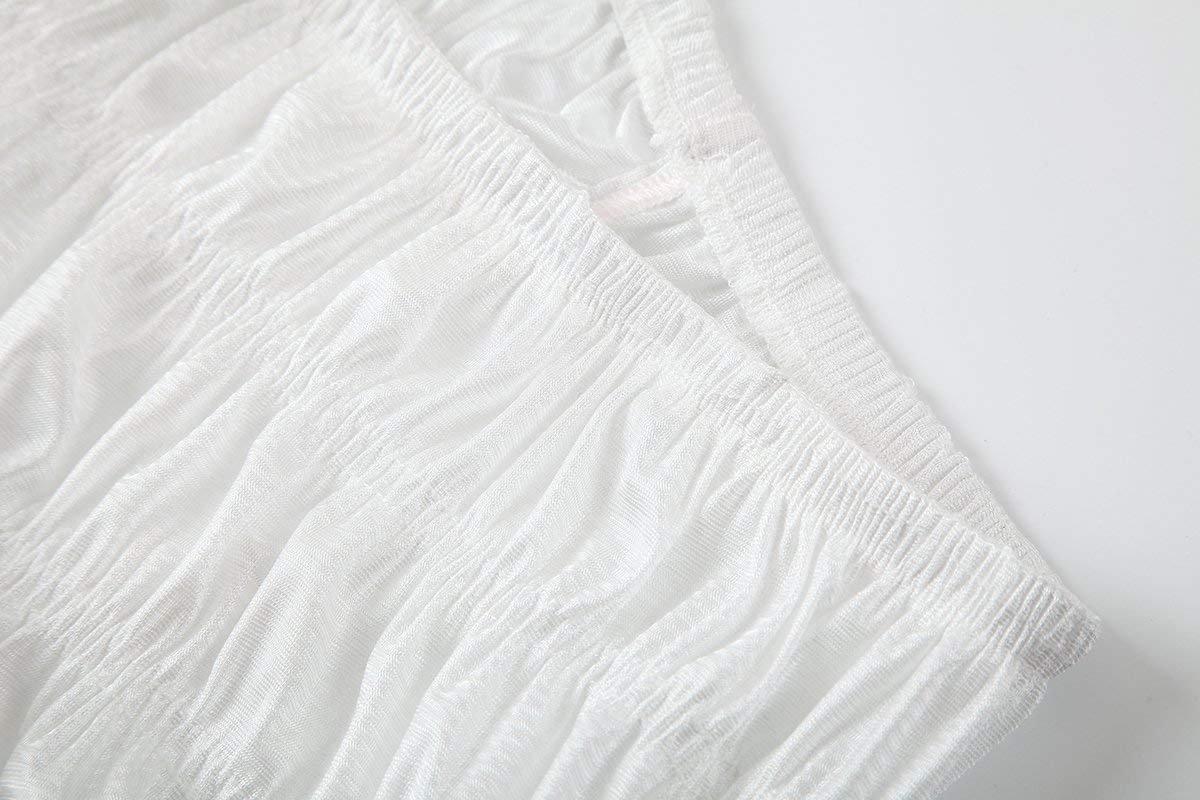 NOVAVOJO Women's Micromesh Lace Ruffle Tanga Shorts Sexy Ruffled Lace Panties Sissy Pettipant Dance Bloomers Frilly Shorts (White, Small) by NOVAVOJO (Image #3)