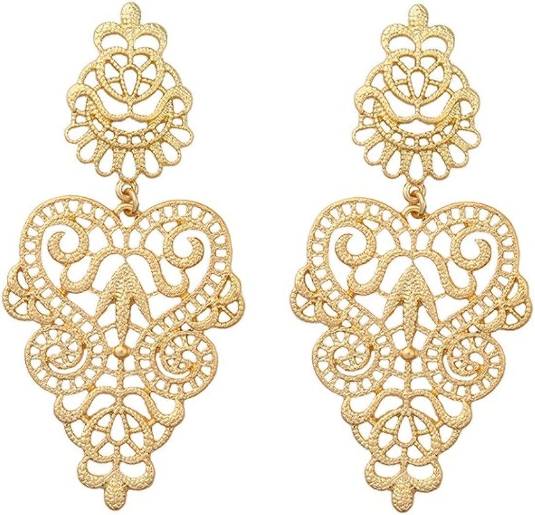 Peony.T Women's Bohemian Filigree Chandelier Hollow Lace Pattern Statement Wedding Dangle Earrings in Gold Color (Round)