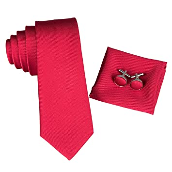 AK Hombres S Tie Tie Corbata roja Seda sólida Corbatas delgadas ...
