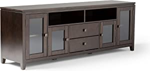 Simpli Home Cosmopolitan SOLID WOOD Universal TV Media Stand, 72 inch Wide, Contemporary, Storage Shelves and Cabinetsfor Flat Screen TVs up to 80 inches Mahogany Brown