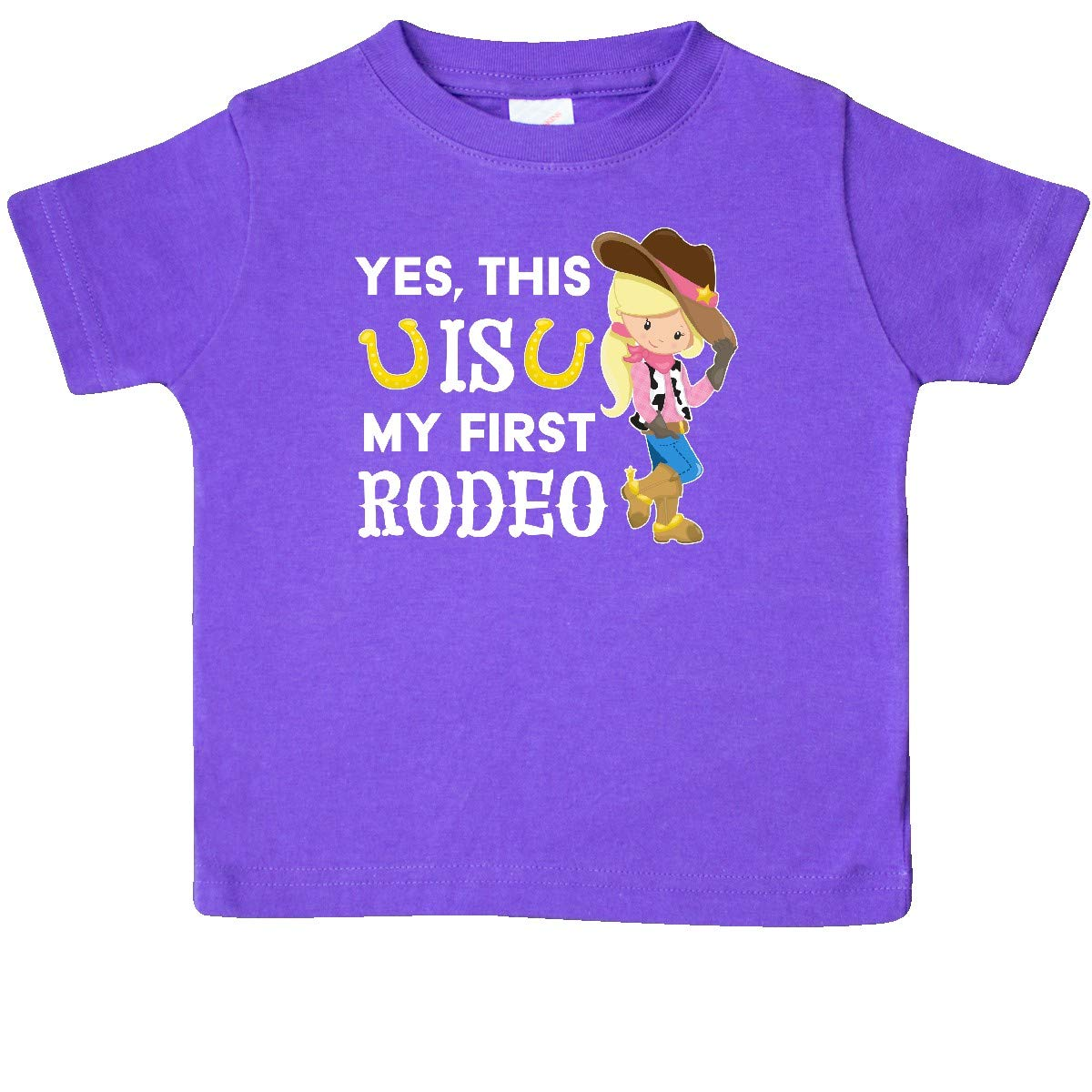 This is My First Rodeo inktastic Yes Cowgirl in Hat and Boots Baby T-Shirt