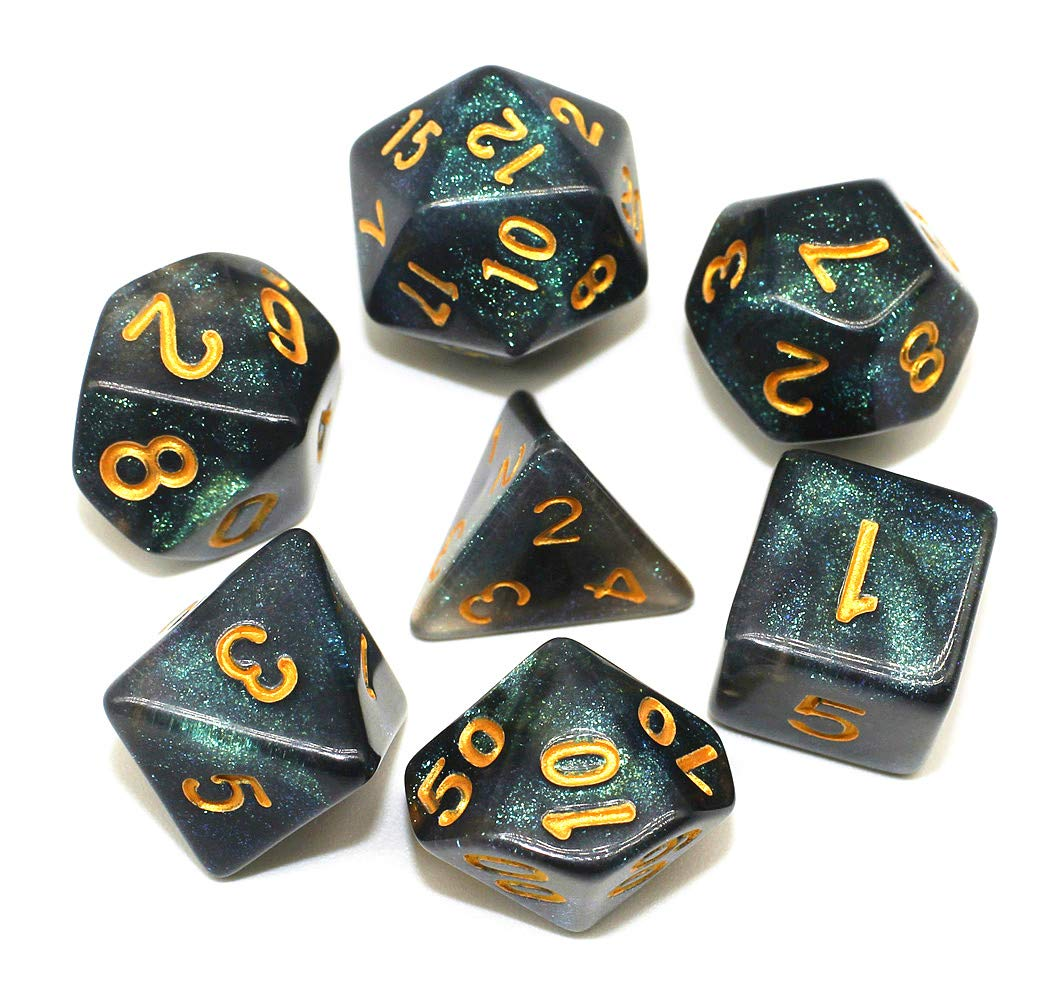 HD Dice DND Dice Set RPG Purple Dice Fit Dungeons and Dragons D/&D Pathfinder MTG Role Playing Games Glitter Polyhedral Dice with Dice Bag