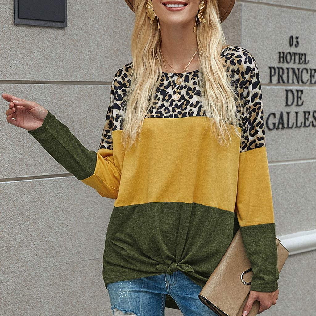 Long Sleeve O-Neck T-Shirt Leopard Printed Splice Tops Casual Streetwear Pullover Blouse F/_topbu Sweatshirts for Women
