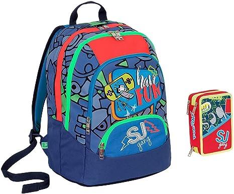 SEVEN. Mochila SJ Maxi Gang Boy niño Have Fun + Estuche Pen Pad 3 Cremalleras Completo: Amazon.es: Deportes y aire libre