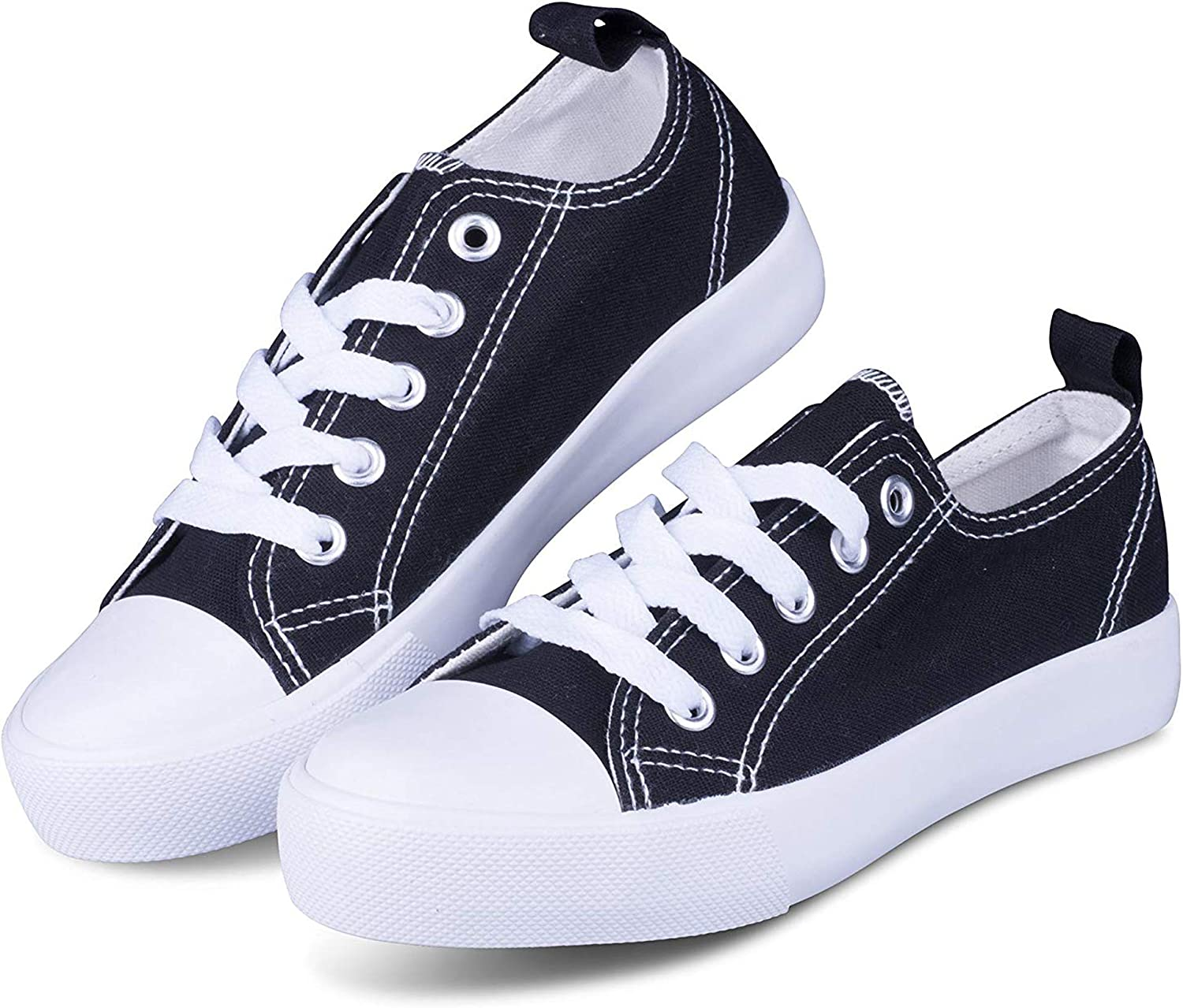 Girls Canvas Shoes Tie up Slip on Sneakers Causal Comfortable Cap Toe Shoes
