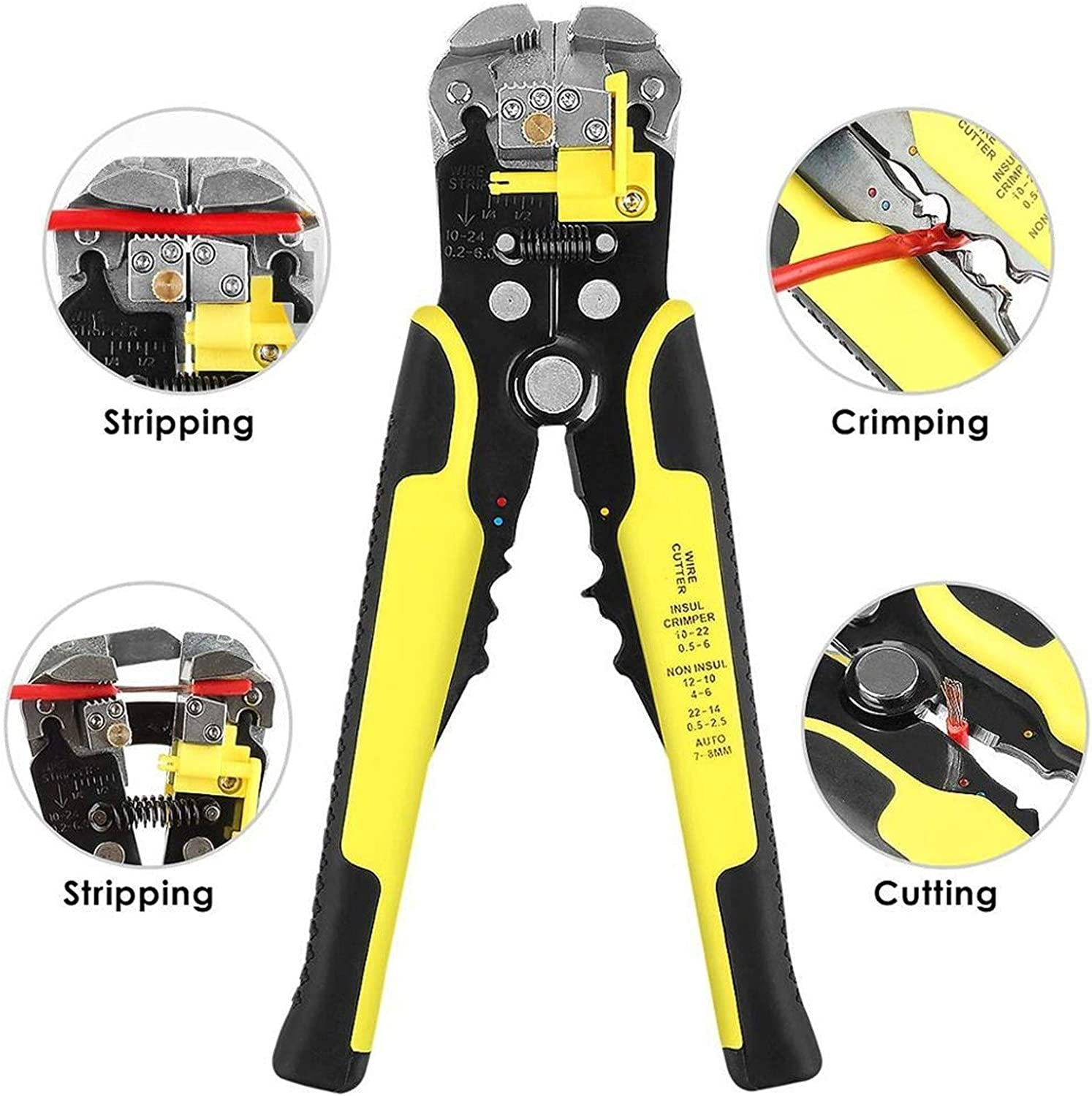 4 in 1 Wire Crimpers Engineering Ratcheting Terminal Crimping Pliers Wire Stripper Tools Set Hand Tools (Color : Gold) Other