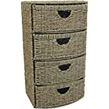JVL 4-Drawer Bow Front Natural Seagrass Cabinet Chest Storage Unit - 38 x 28 x 68.5 cm