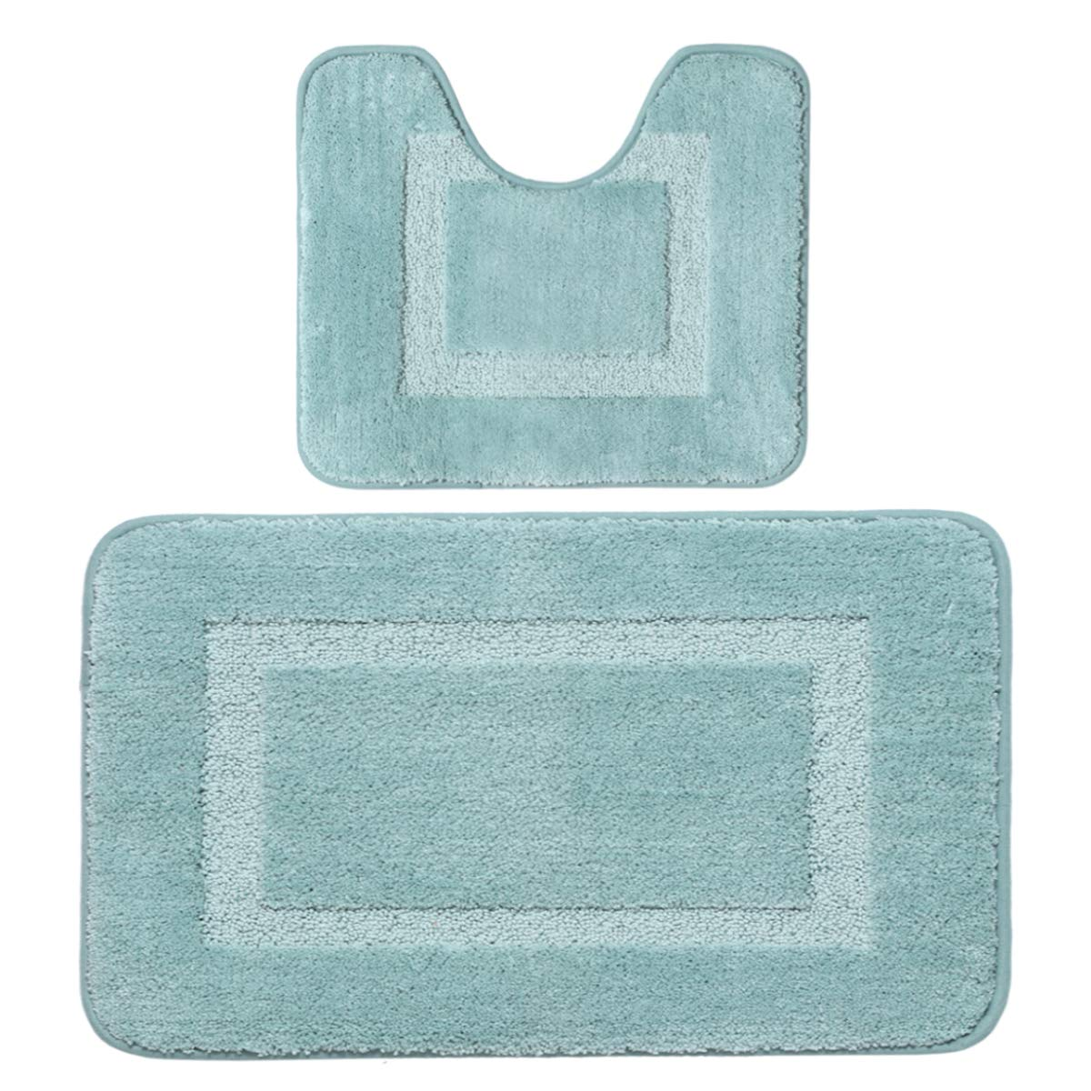 Flamingo P Hand Tufted Heavy Weight Construction Bathroom Rugs 2 Pieces Super Soft 17x 24 Eggshell Blue Plush /& Absorbent Non Slip TPR Rubber Bath Mat for Kitchen Bedroom