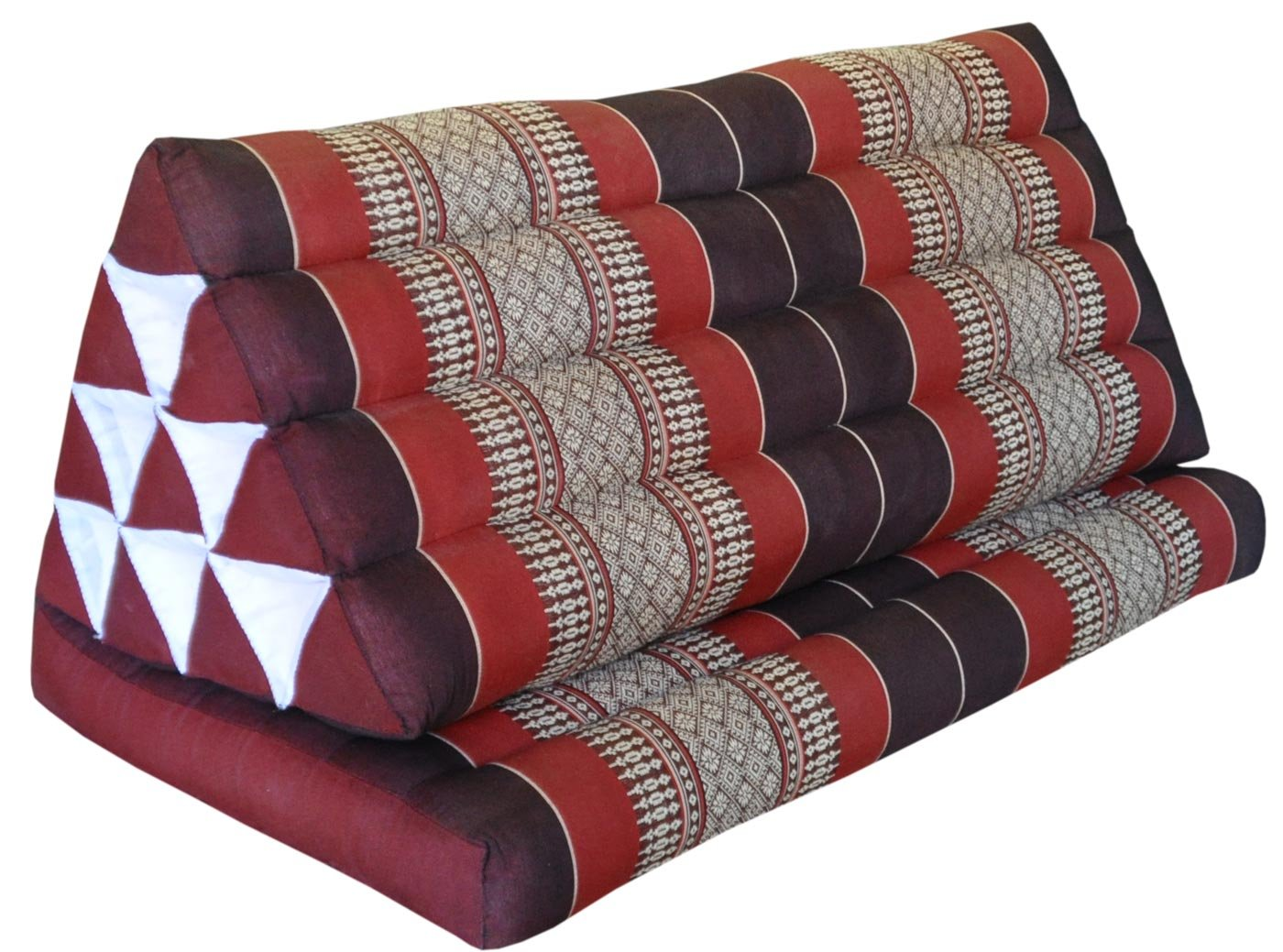 Thai triangle cushion XXL, with 1 folding seat, burgundy/red, sofa, relaxation, beach, pool, meditation, yoga, made in Thailand. (82316)