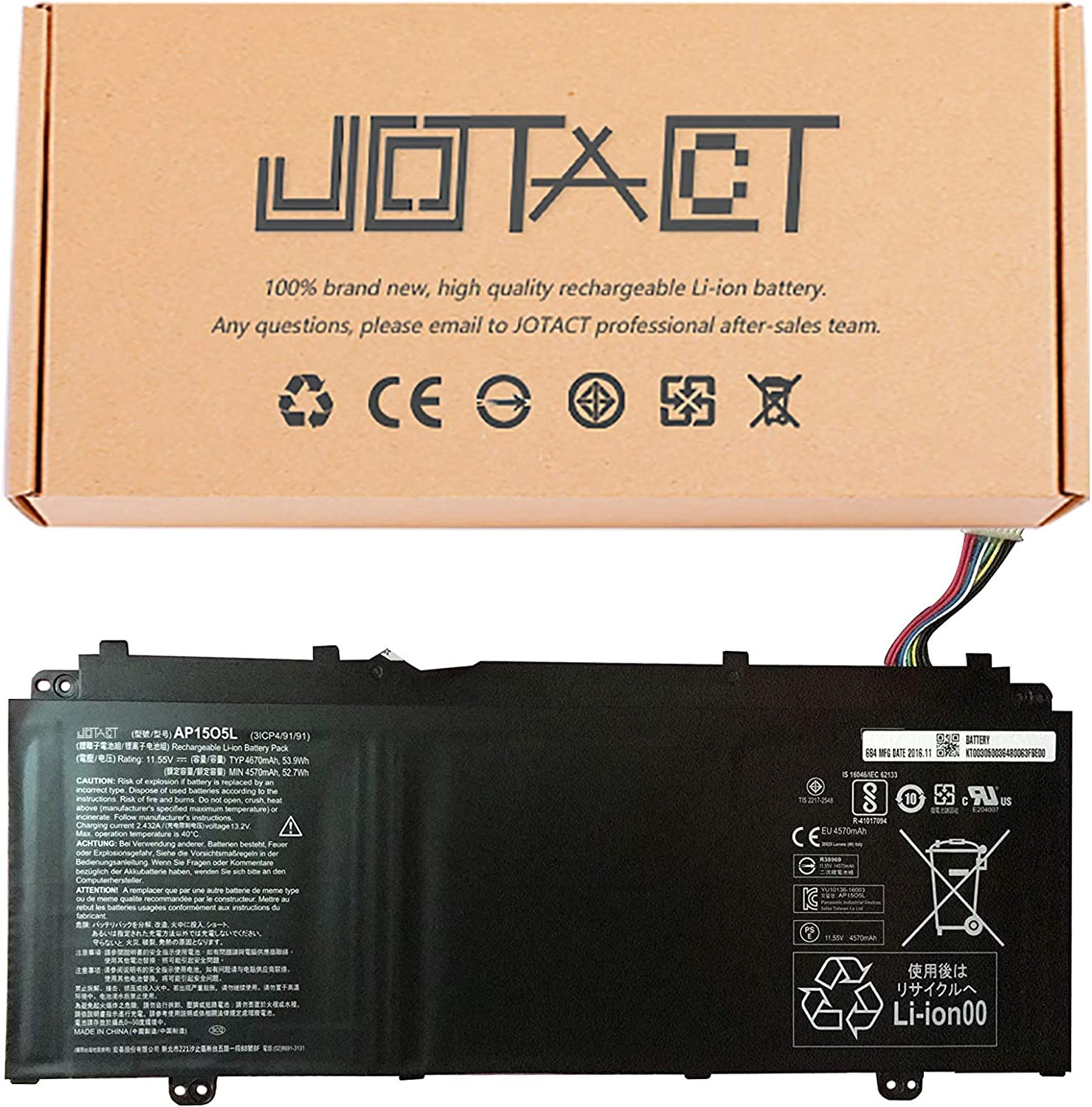 JOTACT AP15O5L(11.55V 53.9Wh/4670mAh 3-Cell) Laptop Battery Compatible with Acer Chromebook R13 CB5-312T Aspire S13 S5-371 S5-371T Swift 1 SF114-32 Series Notebook AP1503K AP15O3K 3ICP4/91/91