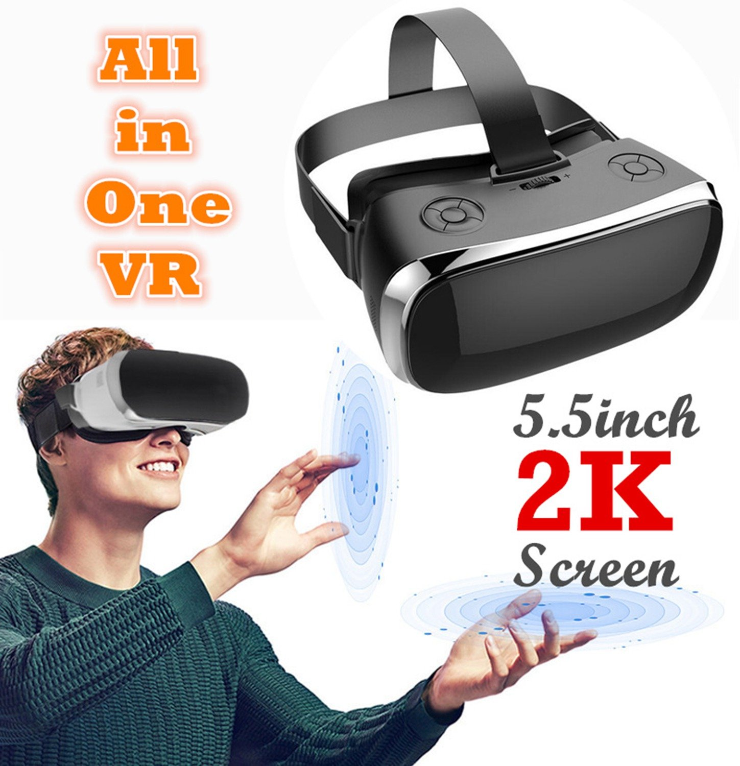 3D Virtual Reality Headset All in One, TSANGLIGHT Android 5.1 VR Headset All in One 360° View 5.5inch 2K 19201080 HD Screen - Quad Core CPU, 2GB RAM, 9 Axis Sensor (Virtual Reality No Phone Needed) by TSANGLIGHT