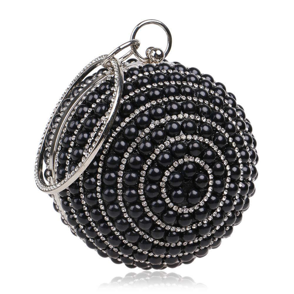 Techecho Clutch Purse Woman Wallet Round Spherical Handbag Banquet Evening Dress Crossbody Bags Frosted Handbag Party Color : Black