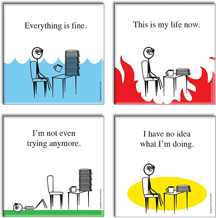 Funny Novelty Office Fridge Magnets (4 Items) Gag Gift Idea - Everything is Fine, This is my life Now, I have no idea what I'm doing, and I'm not even trying anymore