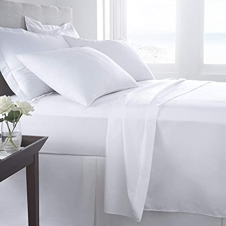 [hachette] KING SIZE WHITE 100% EGYPTIAN COTTON FITTED SHEET IN 200 THREAD  COUNT