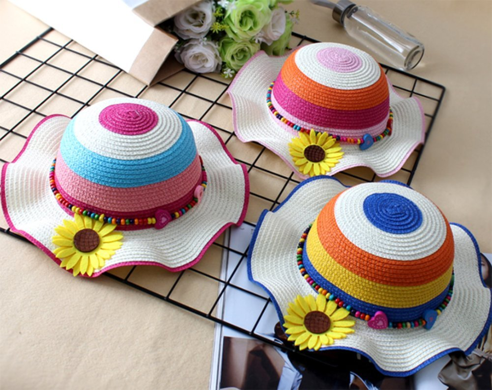 Monbedos Kids Girl Straw Sun Hats Wide Wave Brim Rainbow Beach Hat Sunscreen Hat for Outdoors Holiday Travel Blue
