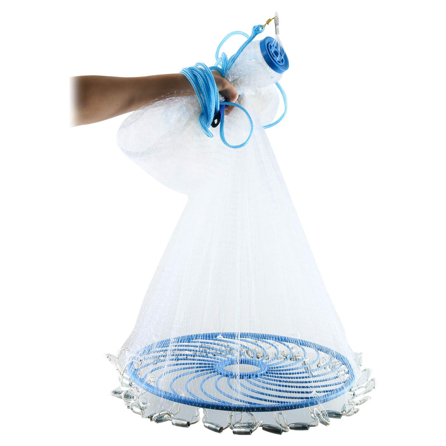 Vnhome Magic Fishing Cast Net for Perfect Circle Throwing (8ft, 10ft, 12ft) (10ft, Magic Fishing Net) by Vnhome
