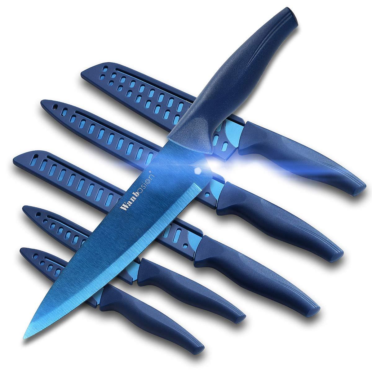 Wanbasion Blue Professional Kitchen Knife Chef Set, Kitchen Knife Set Stainless Steel, Kitchen Knife Set Dishwasher Safe with Sheathes by wanbasion