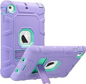 ULAK iPad Mini Case, iPad Mini 2 Case, iPad Mini 3 Case, iPad Mini Retina Case, Three Layer Heavy Duty Shockproof Protective Case for iPad Mini,iPad Mini 2,iPad Mini 3 with Kickstand (Green+Purple)