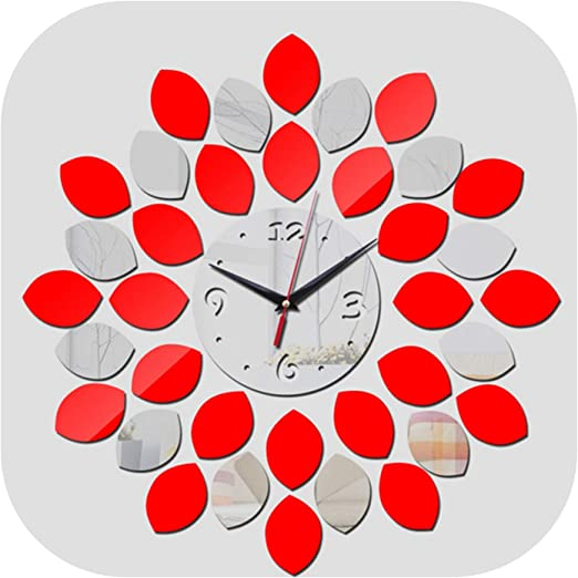 Amazon Com Wall Clock Real Wall Clocks Modern Watch Clocks Horloge Large Decorative Quartz Living Room Acrylic 3d Mirror Red Home Kitchen