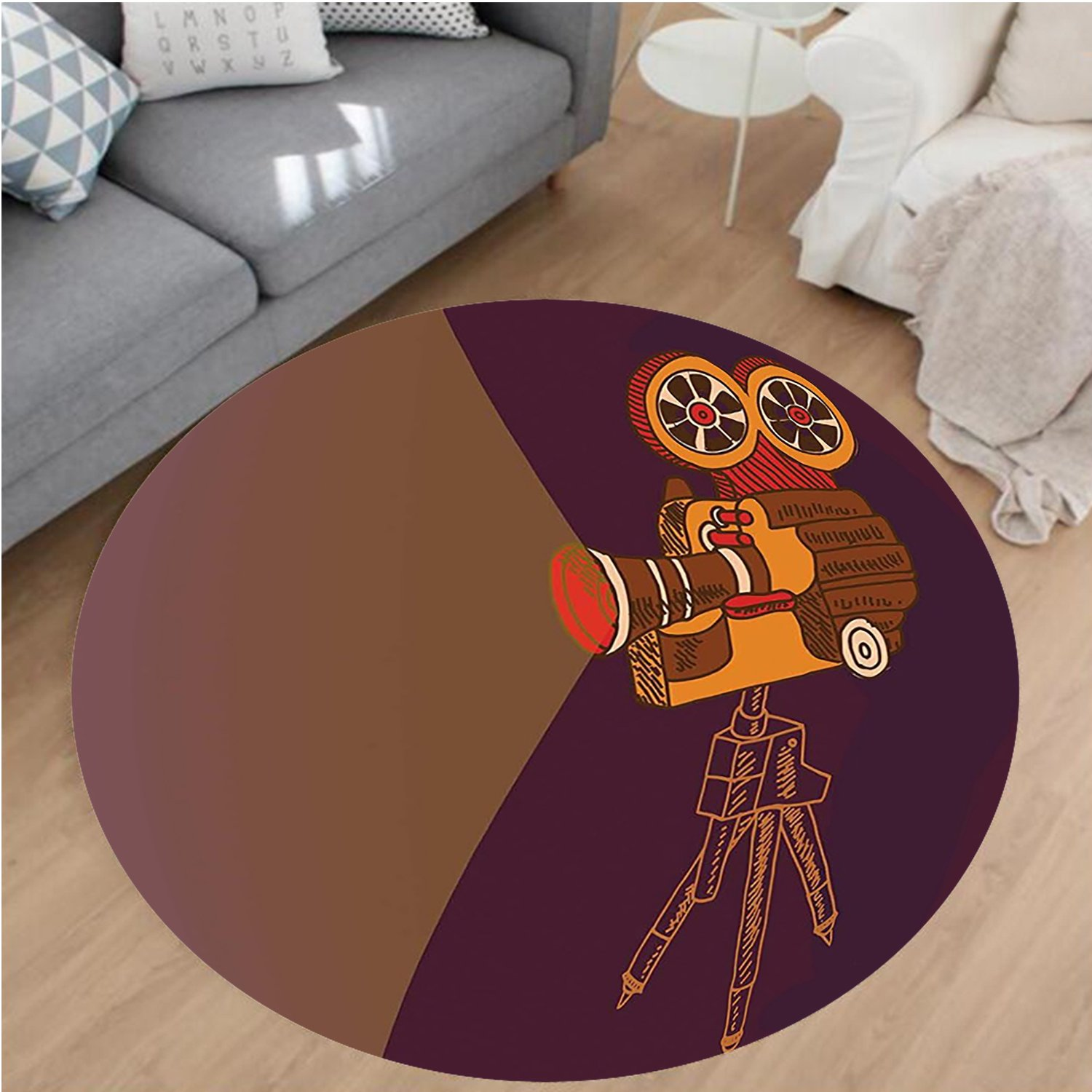 Nalahome Modern Flannel Microfiber Non-Slip Machine Washable Round Area Rug-cor Classic Movie Theater Machine with Cinema Fest Typography Past Filmmaker Brown Purple area rugs Home Decor-Round 67''