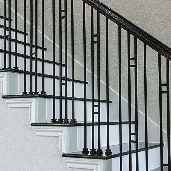 Balaustres de hierro para escalera de doble panel (paquete de 10) moderno doble barra hueca metal ejes de barandilla 1/2 pulgadas x 44 pulgadas de alto (negro satinado): Amazon.es: Bricolaje y herramientas