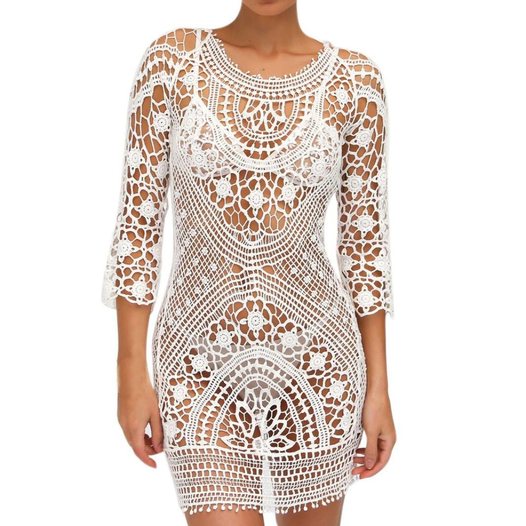 Anglewolf Sexy Beach Cover up Lace Crochet Swimwear Dress Ladies Bathing Suit Sexy Ladies Hollow Out Backless Beach Bikini Rashguard Beachwear Smock Vacation Dress Clothes Free Size)