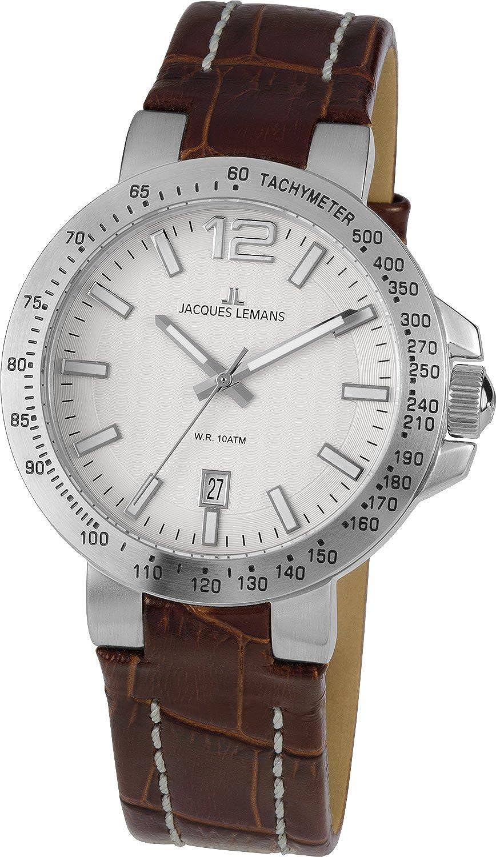 Jacques Lemans 1-1718B - Reloj analógico de Cuarzo para Hombre con Correa de Piel, Color marrón