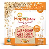 Happy Baby, Clearly Crafted Cereal, Organic Whole Grain Oats and Quinoa, 7 Ounce, Organic Baby Cereal in a Resealable Pouch, with Iron to Support Baby's Brain Development, a Great First Food