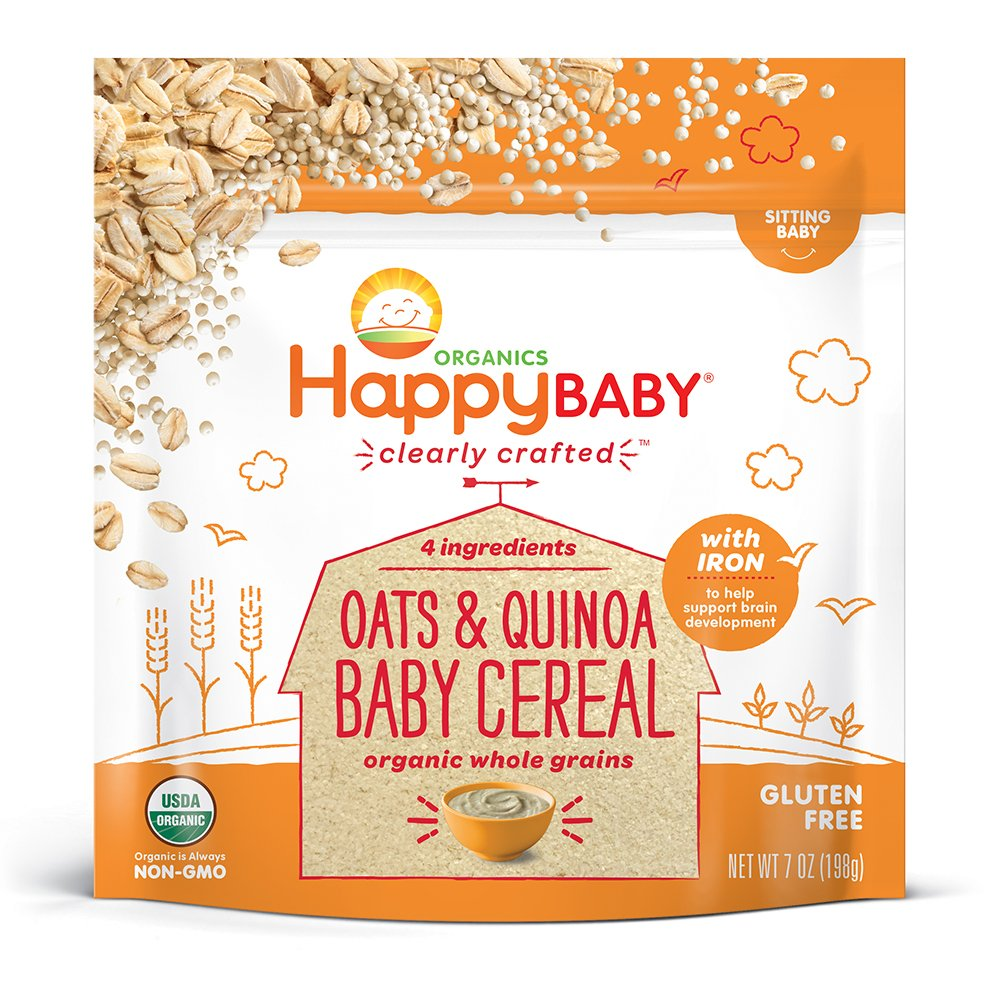 Happy Baby Organic Clearly Crafted Cereal Whole Grains Oats & Quinoa, 7 Ounce Bags (6 Count) Organic Baby Cereal in a Resealable Pouch with Iron to Support Baby's Brain Development a Great First Food by Happy Baby