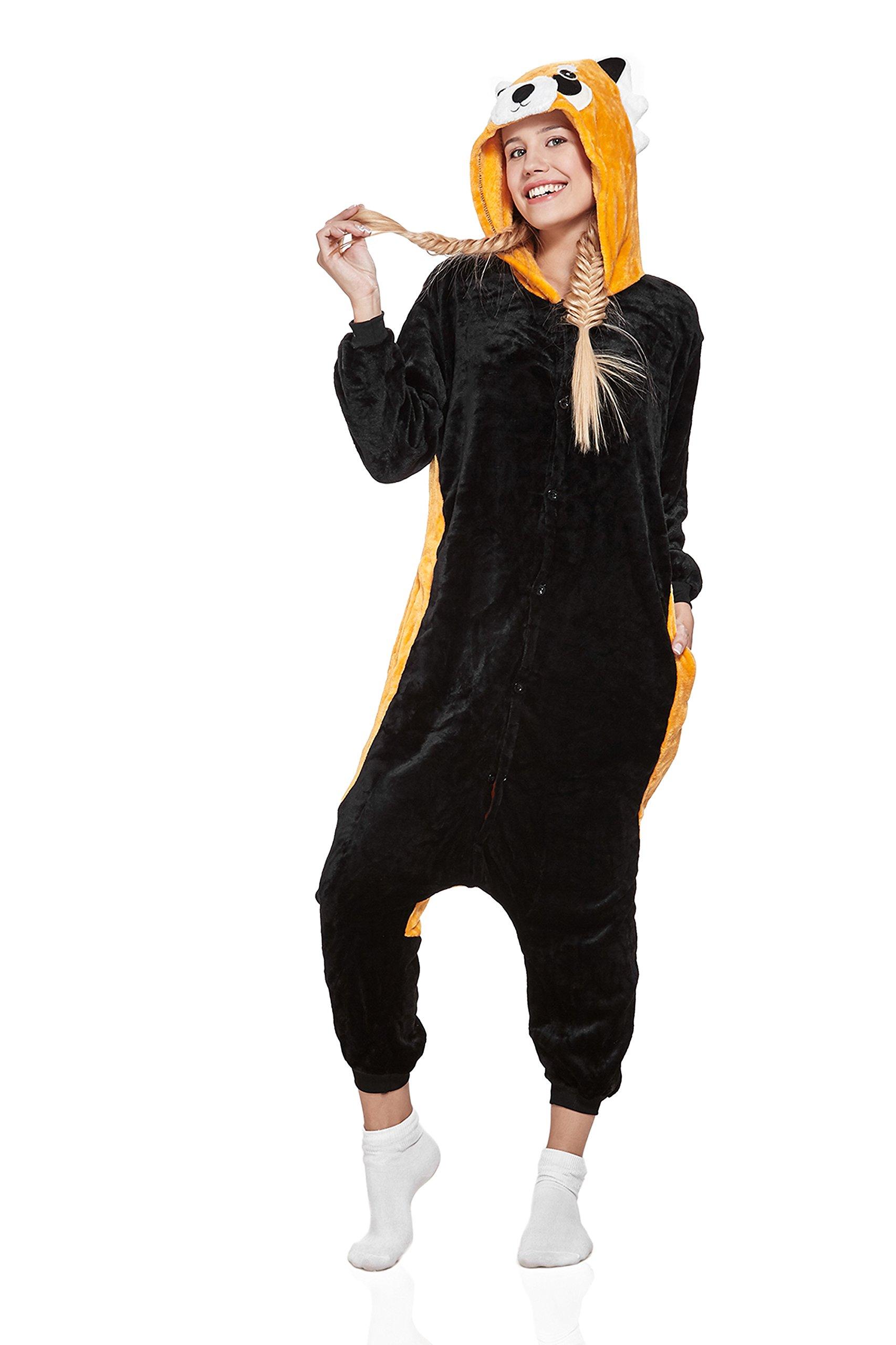 Nothing But Love Adult Red Panda Raccoon Kigurumi Animal Onesie Pajamas Plush Onsie Cosplay Costume (Medium, Black with Yellow)