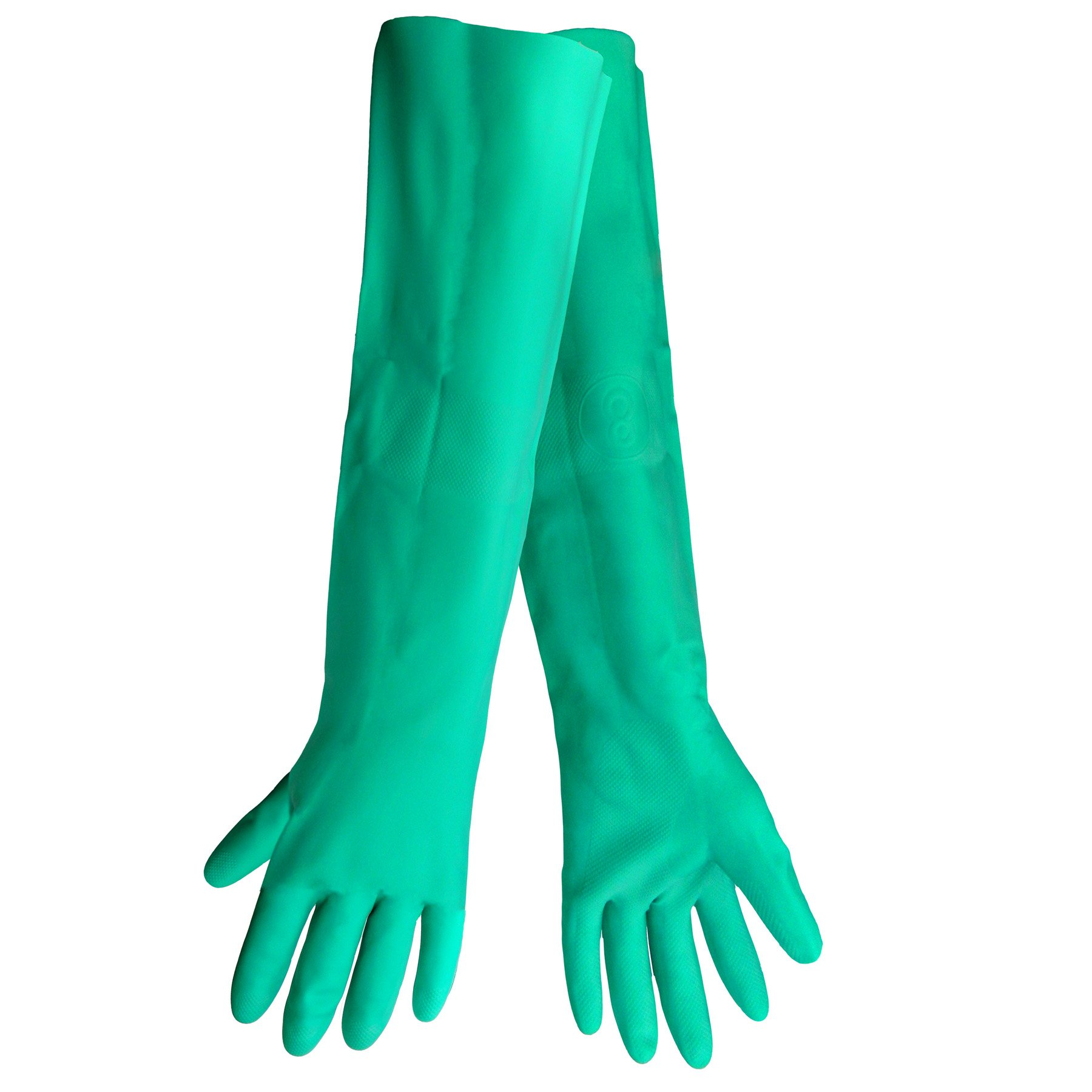 Global Glove 522 Heavyweight Unlined Nitrile Glove, Chemical Resistant, 22 mil Thick, 19'' Length, Extra Large, Green (Case of 72)