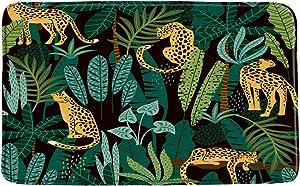 Sunhe Print Microfiber Memory Foam,Leopard Green Plam Banana Leaf Asian African Wild Animal Creative Modern Watercolor Abstract Soft Home Office Door Bathroom Mat/Bath Rugs - Non Slip,19.7