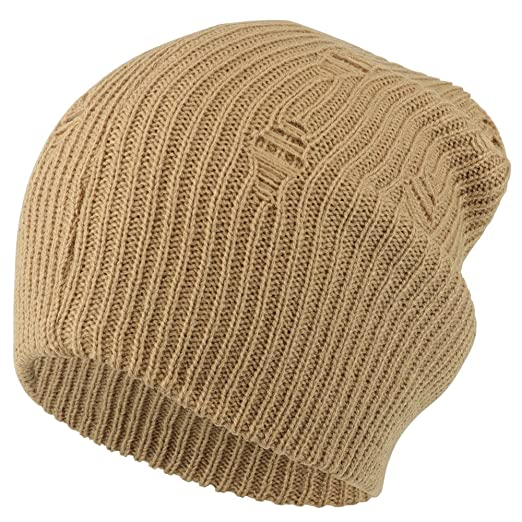 Armycrew Vintage Frayed Pattern Knit Deep Slouchy Beanie Beige At